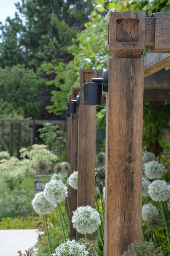 Pergola detail and Alliums designed by Andrew Wenham MSGD