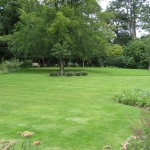 Rear garden with contoured lawn designed by Richard Key FSGD