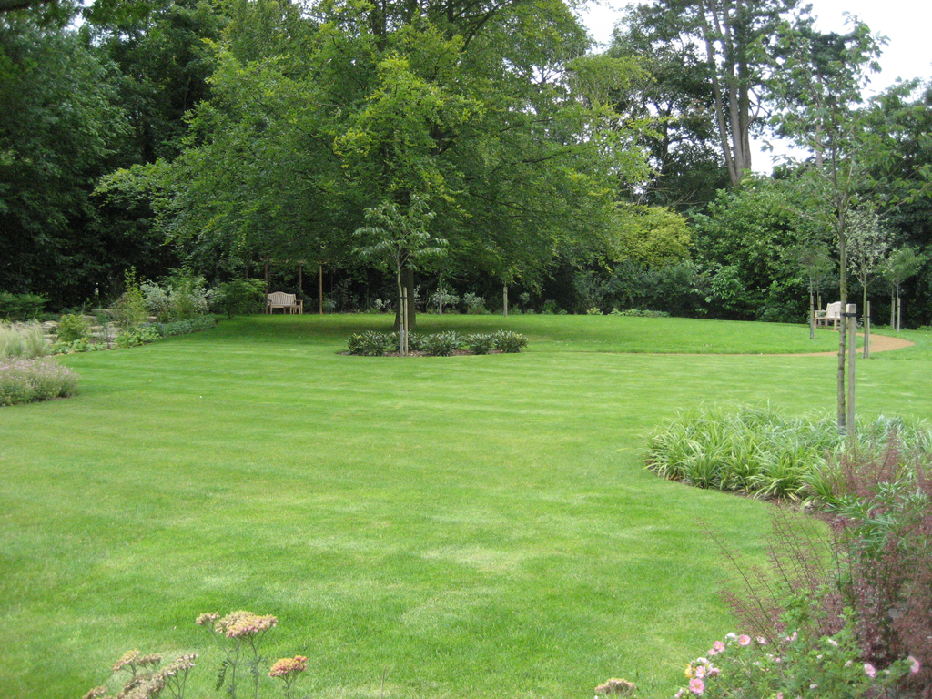 Landscaped garden designed by Richard Key FSGD, Little Chalfont, Bucks