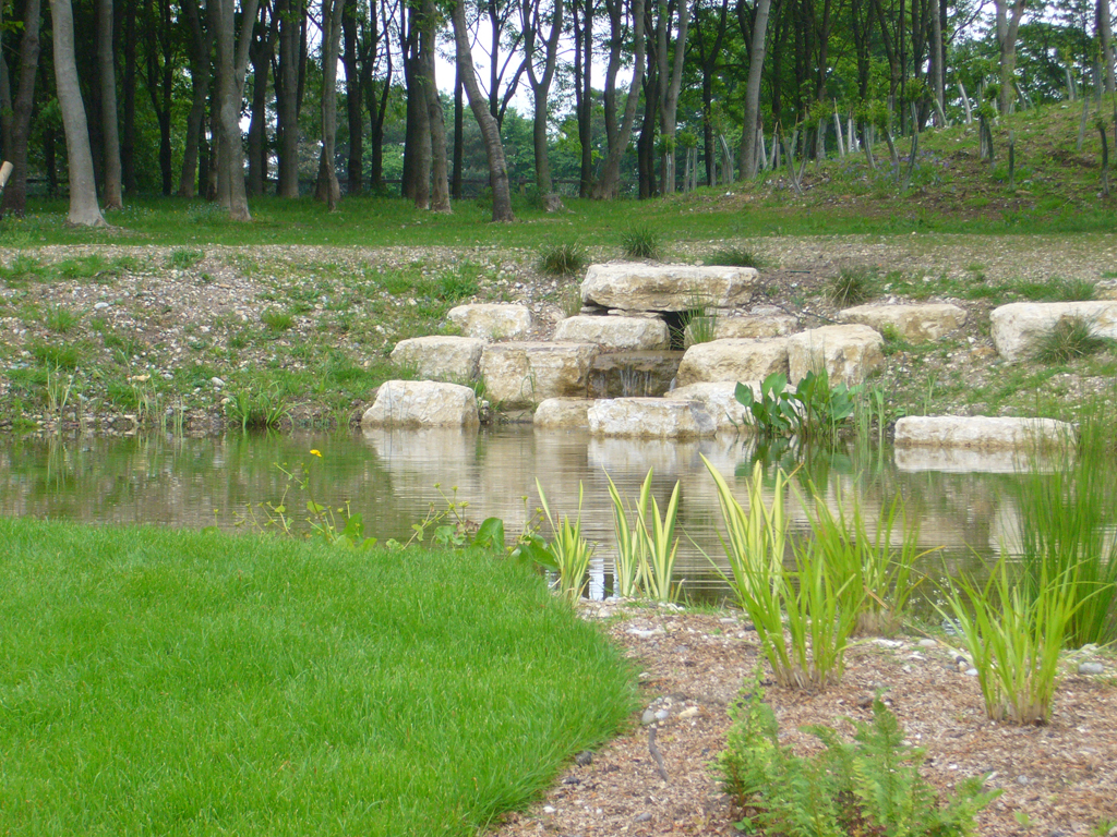 Rock water source to pond