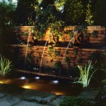 Water feature lit to dramatic effect