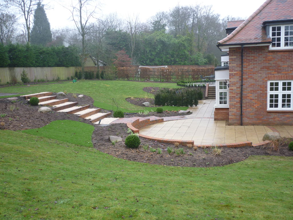 Garden design during build in Rickmansworth, Herts