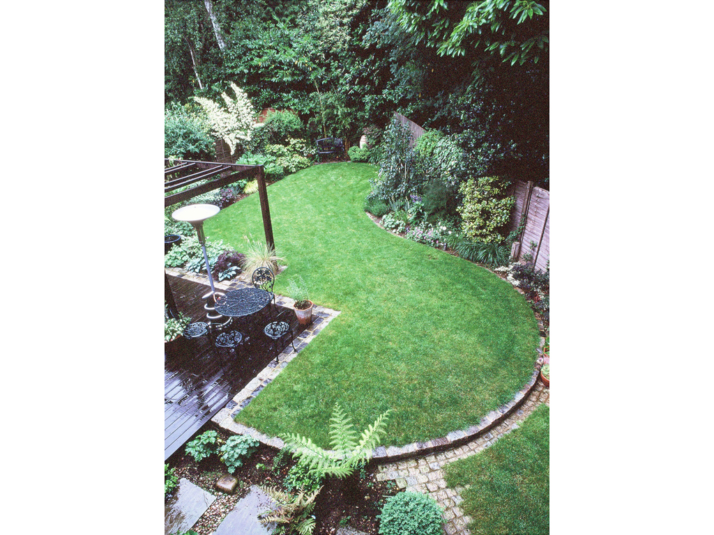 Aerial view of shady garden design, Leighton Buzzard, Beds