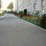 Hand carved York stone edging and Cedec path, London