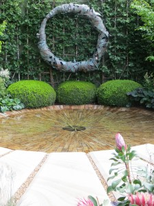 Charlie Albone's water feature in his Silver Guilt Medal winning garden