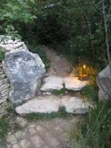 Steps and secret path in James Basson's L'Occitane Garden