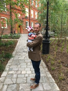 Alex with daughter Alice at Inner Temple Garden London, on completion of a rejuvenation project