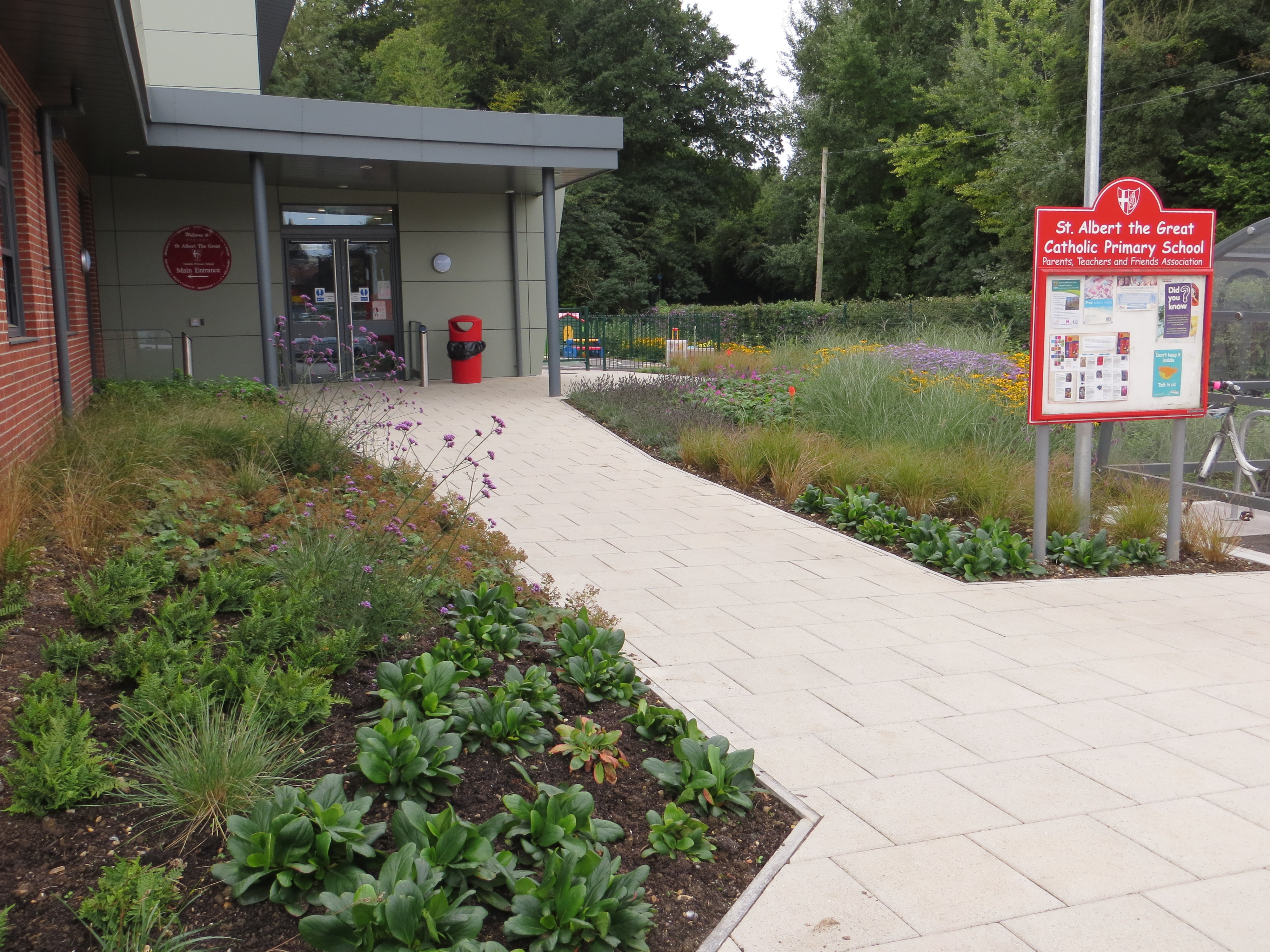 School entrance with naturalistic planting that will change with the seasons and attract butterflies and bees