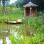 Bespoke gazebo and jetty over pond