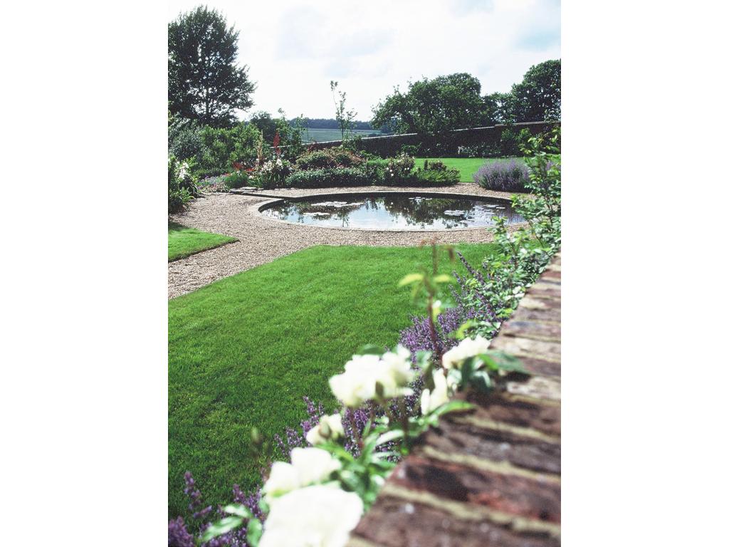 Lawn area and formal pool, nr Hemel Hempstead, Herts