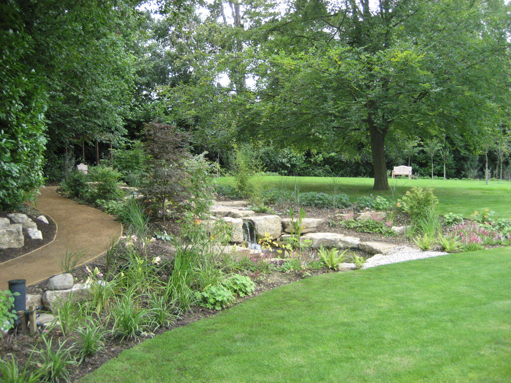 Water feature and planting designed by Richard Key FSGD