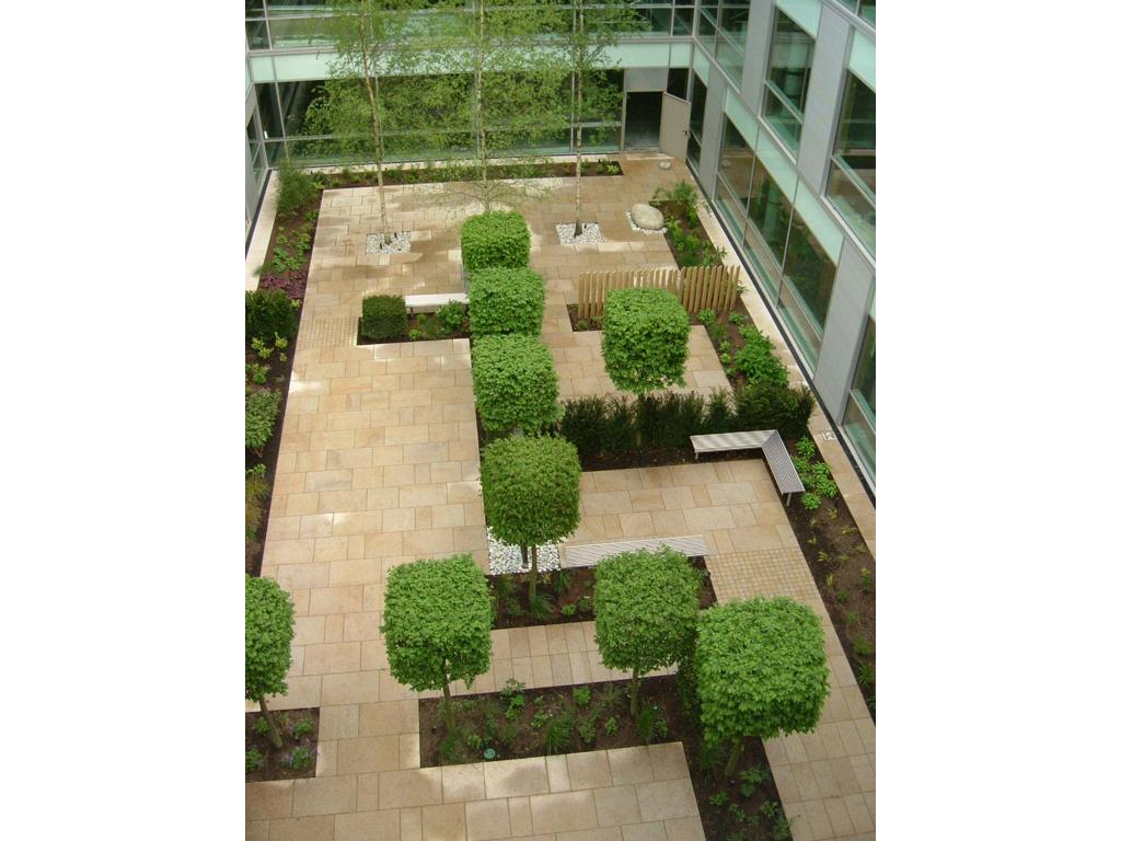Courtyard design by James Scott, Corporate Head Office, Welwyn Garden City