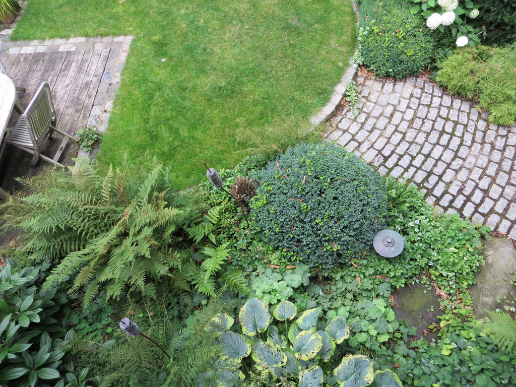 Aerial view of garden design, Leighton Buzzard, Beds