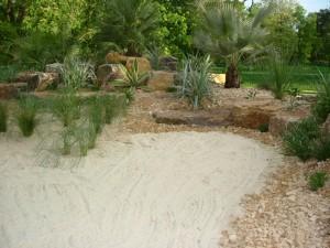 Planting, rock and sand detail 4 on Kew's mediterranean beach garden